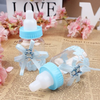 50pcs/lot Baby Bottle Candy Box Party Supplies Baby Feeding Bottle Wedding Favors and Gifts Box Baby Shower Baptism Decoration