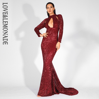 Aşk & Limonata Cut Out Standı Elastik Sequins uzun elbise LM81525WINERED