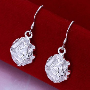 Fashion silver plated Earring for Women 925 jewelry silver plated For Women .Silver Plated Earrings Rose Earrings E066