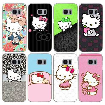 G471 Doraemon ve Hello Kitty şeffaf sert PC Case kapak için Samsung Galaxy S not 3 4 5 6 7 8 9 kenar artı