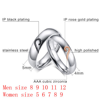 Vnox Couple Ring for Women Men Stainless Steel Heart Promise Jewelry for 2 pcs